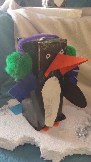 3d knutsel: pinguïn van een melkpak