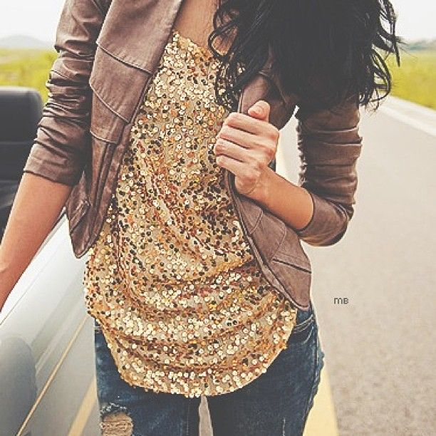This is the perfect kind of sequin tank top for layering on New Years. Not sure gold would look good on me, but the style is great!