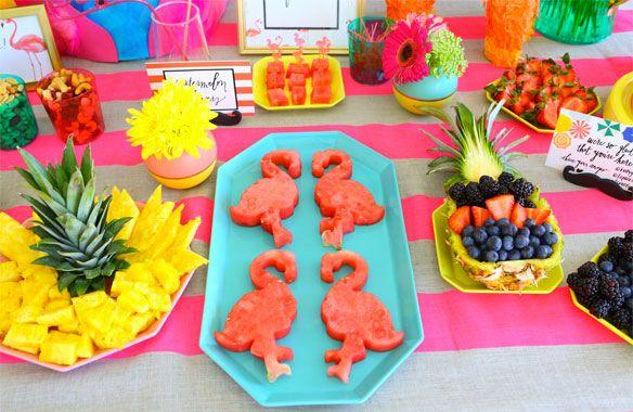Flamingo fiesta food ideas cut pineapple flamingo and shell for Pool and food