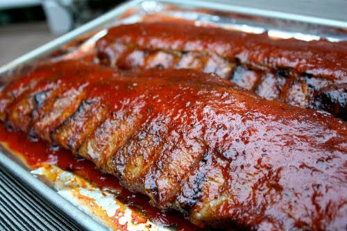Oven Roasted/Grilled Baby Back BBQ RibsBbq Ribs, Ribs Recipe, Baby Back Ribs In Ovens, Easy Baby, Food Porn, Baby Ribs, Easy Ovens Baking Ribs, Meat Loaf,  Meatloaf