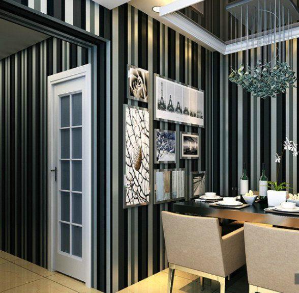 Cheap Papel pintado blanco negro rojo marrón verticales filamento franja ecológica no tejido sofá tv papel tapiz de fondo papel de parede mur, Compro Calidad Papel Pintado directamente de los surtidores de China:               3D papel tapiz de flores