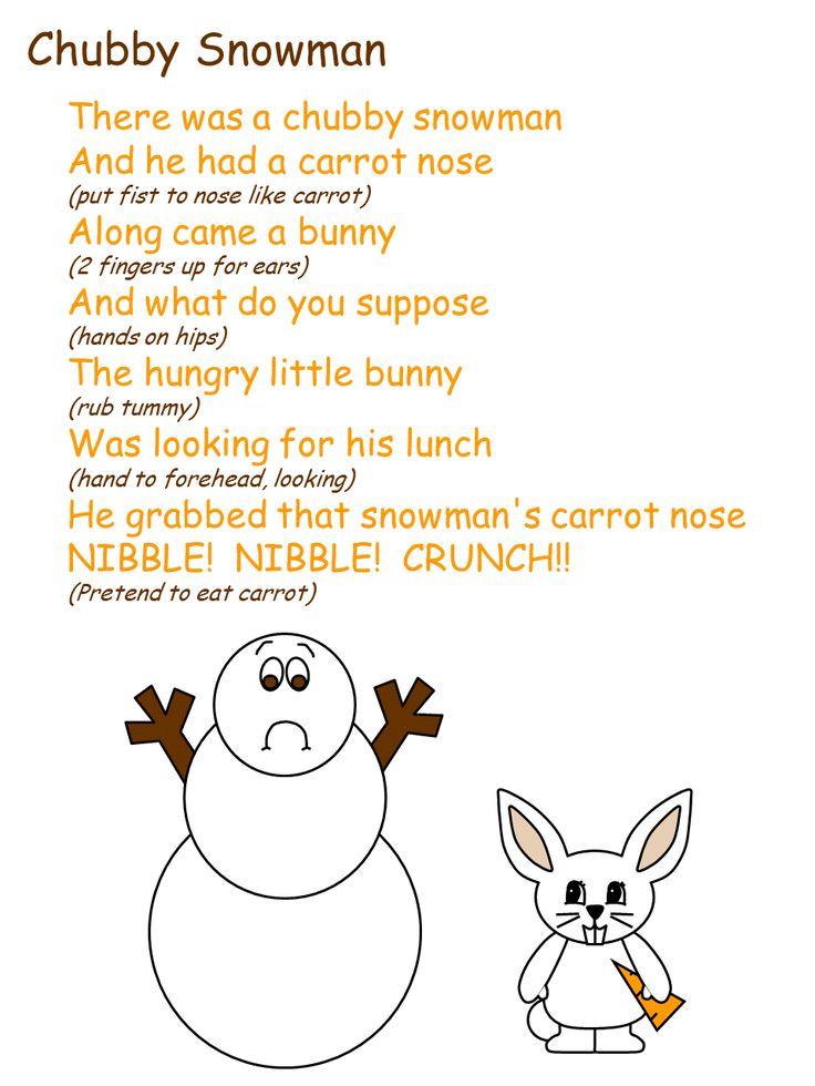 snowman fingerplay 3 in 2020 Winter poems, Winter preschool