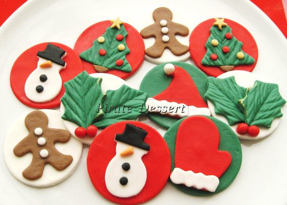 Edible CHRISTMAS cupcake toppers  Classic Holiday by PirateDessert, $30.00