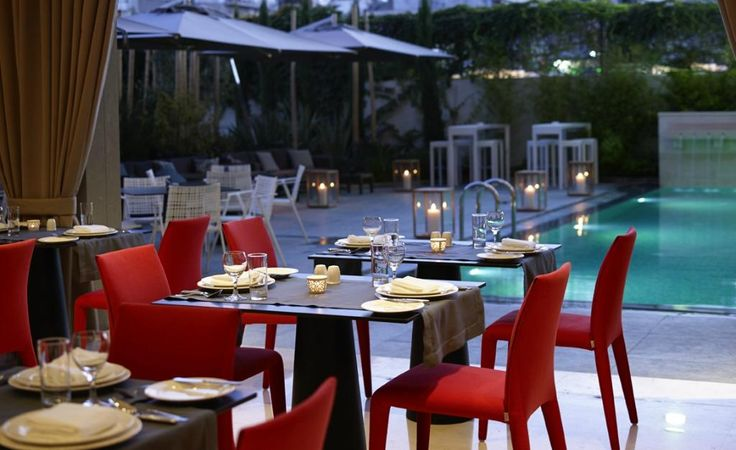 Enjoy a candlelit dinner by the pool at Samaria hotel's al a cart restaurant! #Chania #SamariaHotel #Crete