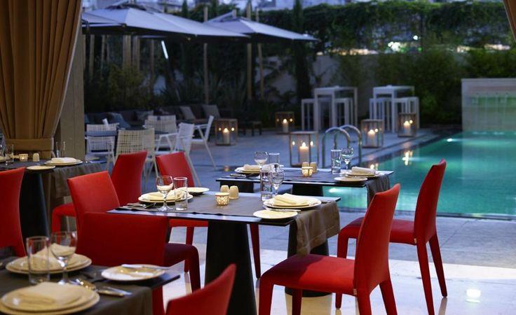 Enjoy a candlelit dinner by the pool at Samaria hotel's al a cart restaurant! #Chania #SamariaHotel #Crete