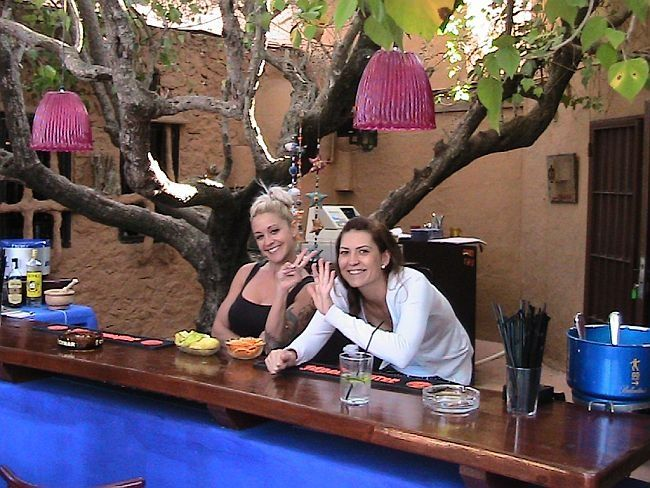 Drinks bar staff at the hippy market Javea
