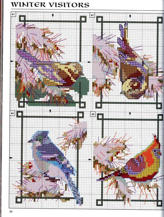 Birds in winter free cross stitch pattern