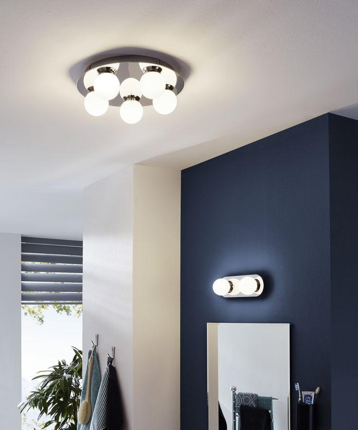 Eglo Lighting / Mosiano / LED Polished Chrome Bathroom 5 Lamp Round Plate Flush Light with Opal Shades