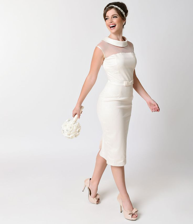 1950s Ivory Dotted Tulle Sleeveless Satin Joni Bridal Wiggle Dress $138.00 AT vintagedancer.com