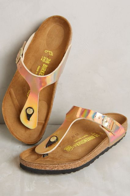 Birkenstock Gizeh Sandals- silver, bronze, or any other metallic