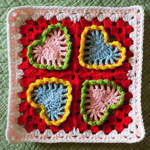 Crochet Granny Square Heart Patterns : 17 Best images about croche on Pinterest Free pattern ...