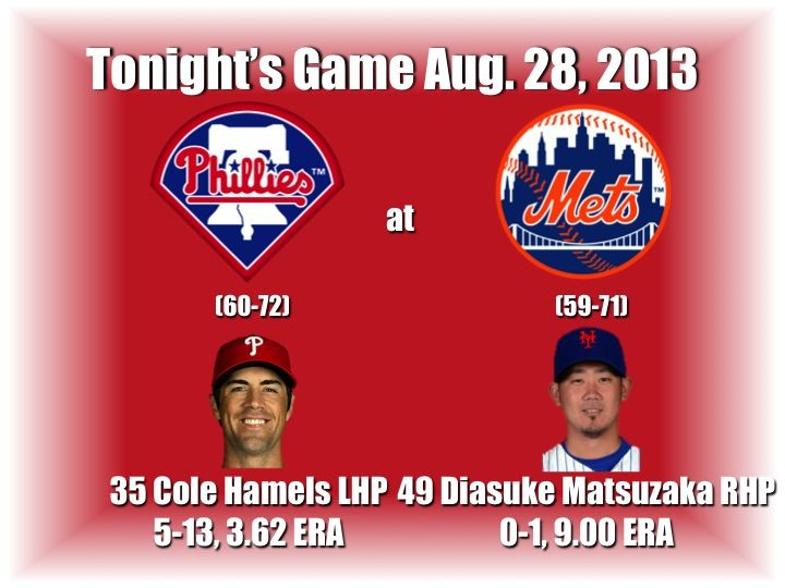 Cole Hamels and the Philadelphia Phillies face Diasuke Matsuzaka and the New York Mets. Here's tonight's preview with game notes and lineups: http://www.philliesnetwork.com/?p=9953