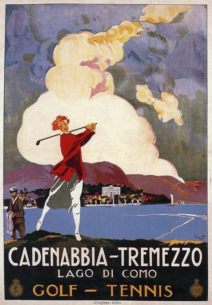 (vintage golf poster) Lago di Como (Cadenabbia-Tremezzo), 1926