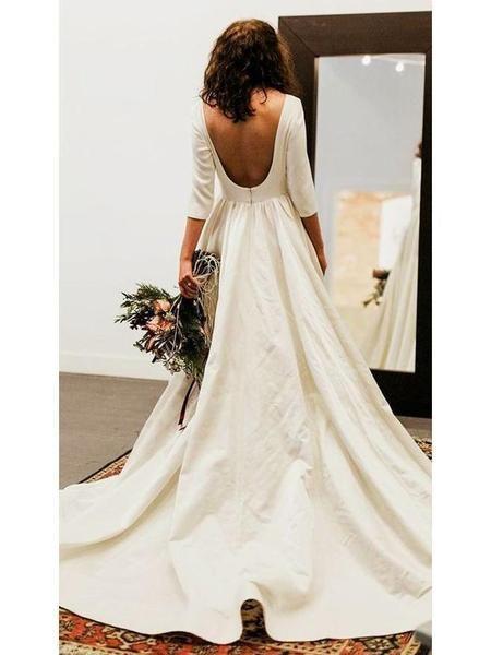 3/4 Sleeve Modest Wedding Dresses Backless Simple Long Sleeve Wedding Dress AWD1135