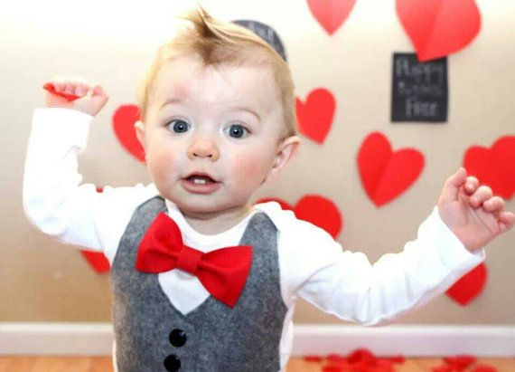 Baby Boy Clothes - Baby Bow Tie With Vest  - Baby Boy Grey Vest shirt - Red Bow Tie - Coming Home Outfit - Ring Bearer - Boys Wedding