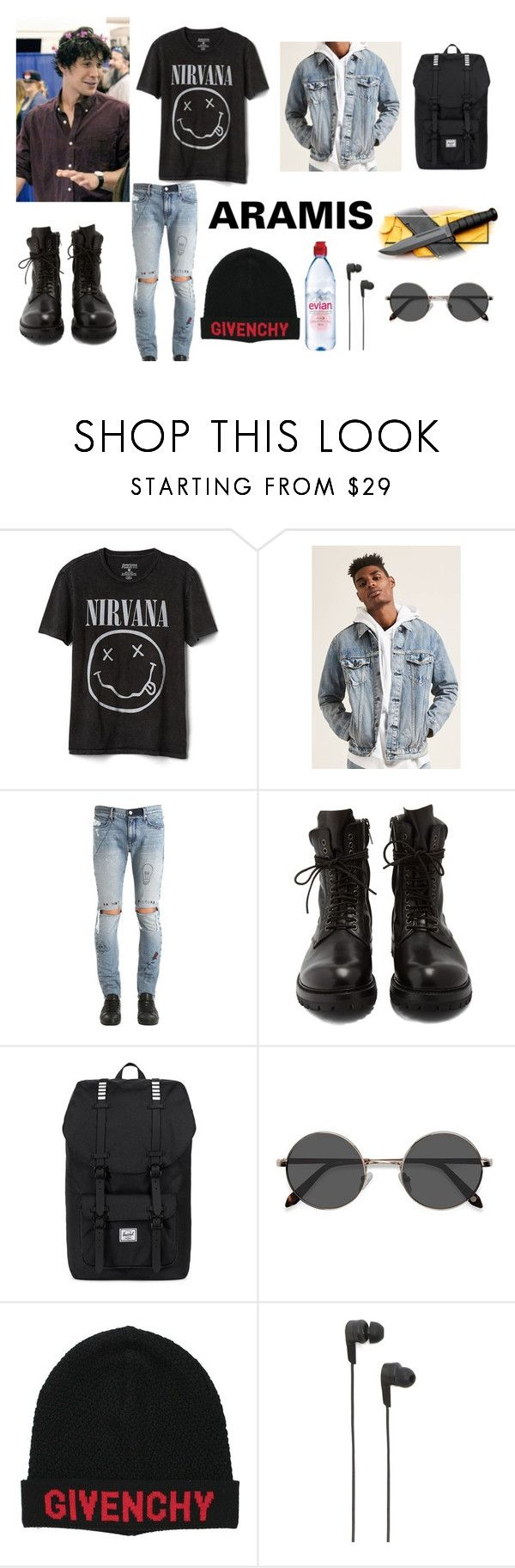 """Untitled #155"" by lgbtsymbol ❤ liked on Polyvore featuring Gap, 21 Men, RtA, Rick Owens, Herschel Supply Co., EyeBuyDirect.com, Givenchy, B&O Play, Evian and Morley"