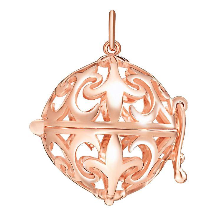 Pandantiv Nahla Jewels argint placat cu aur rose sfera dantelată Fleur de Lis