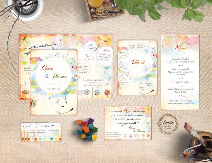 Création originale de carterie mariage couleur et nature mêlant illustration et aquarelle. Faire-part, Invitation, Save the date, Réponse, etc...