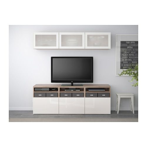 BESTÅ TV Storage Combination/glass Doors   Walnut Effect Light  Gray/Selsviken High
