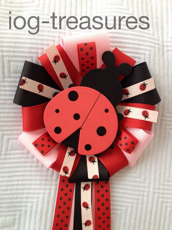ladybug baby shower birthday bridal shower corsage mums red pink and black bridal shower corsages
