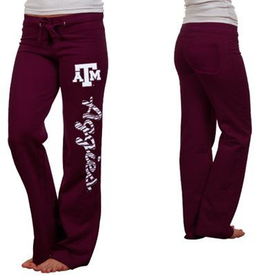 Texas A&M Aggies Ladies Animal Print Rugby Fleece Sweatpants - Maroon  Size medium