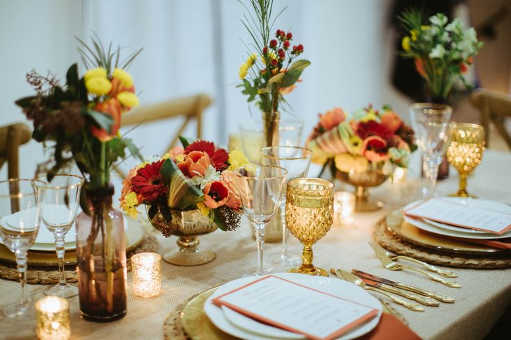 Burnt Orange Inspired Table Setting - loving these bright colours!