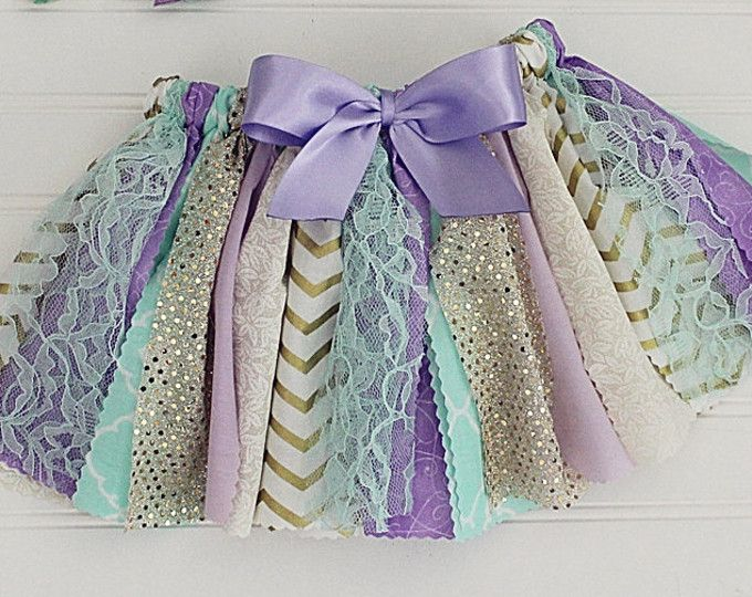 Fabric tutu, Scrappy Skirt, Lavender, Mint and Gold, Cake Smash, First Birthday, Second Birthday, Photo Prop, Birthday Outfit