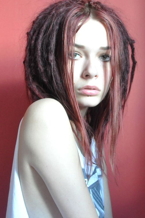 short dreads with long pink bangs