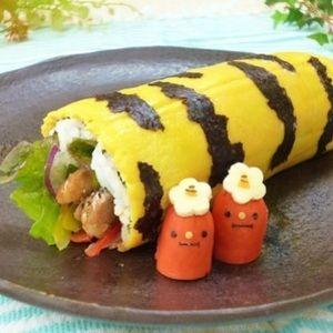 鶏肉と卵で親子恵方巻き★見た目も可愛く、節分らしさを出してみました。 是非、親子で作って親子で召し上がれ~♪