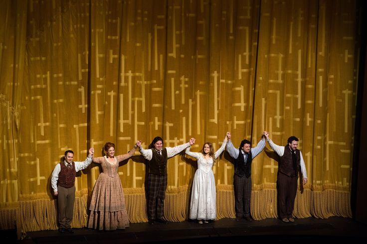 "The final bows of the Puccini's ""La Bohme"" (Cyganeria) at the Metropolitan Opera on April 5, 2014 (left to right) Patrick Carfizzi as Schaunard, #SusannaPhillips as Musetta, #MassimoCavaletti as Marcello, #KristineOpolais as Mimi, #VittorioGrigolo as Rodolfo, and Oren Gradus as Colline. #MetLive"