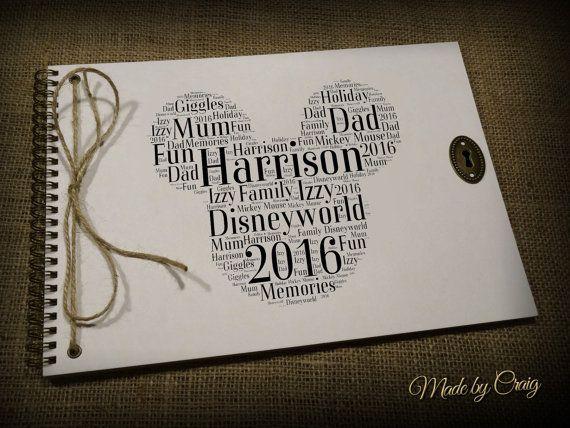 Personalised Disney, Scrapbook, Photo Album, Autograph Book, Word Art, Typography Cloud, Disneyland Holiday, Paris/Florida, Vintage Style
