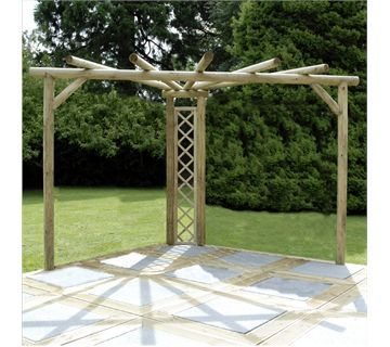 seemingly simple corner pergola