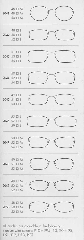 Lindberg Spirit - shapes/sizes 2041-2050