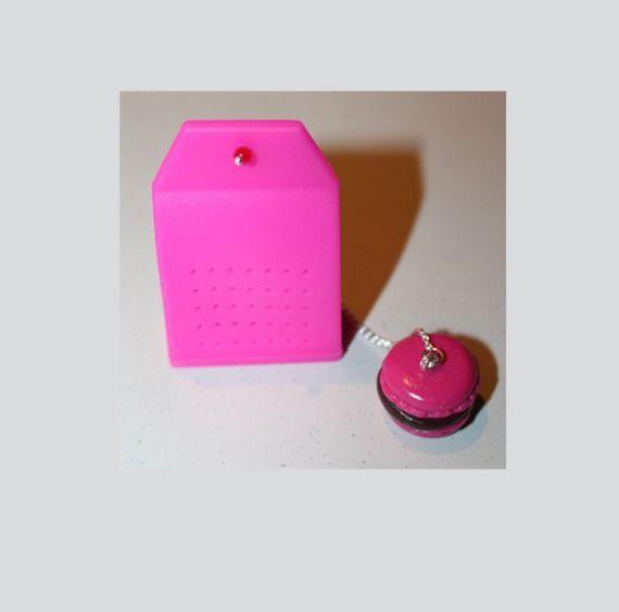 Filtre à thé, en silicone rose, marcaron framboise chocolat