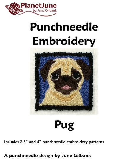 Punchneedle Embroidery Pattern: Pug : PlanetJune Shop, cute and ...
