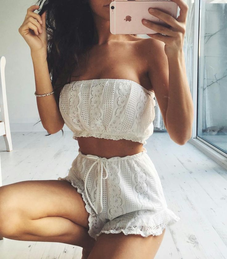 Pearl white crochet bandeau top m high waist tie shorts.