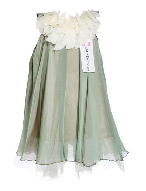 Girl's Sage Chiffon Dress with Bib-like Neckline