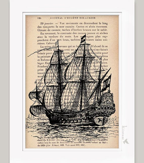 Smila Sol Ceiling Lamp Yellow: Nautical Decor Vintage Ship Print Dictionary Art Print