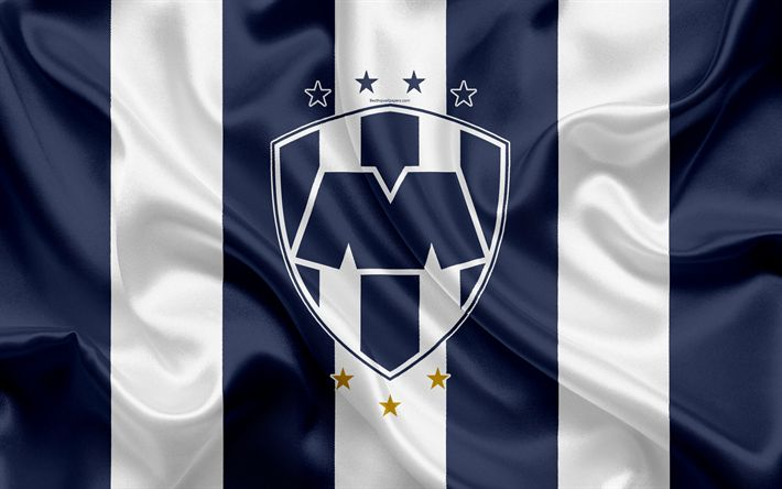 Download wallpapers Monterrey FC, 4K, Mexican Football Club, emblem, logo, sign, football, Primera Division, Mexico Football Championships, Monterrey, Mexico, silk flag, CF Monterrey