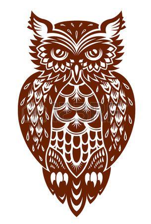 Hibou brun dans le style ornemental pour la mascotte ou d une autre conception…                                                                                                                                                                                 Plus