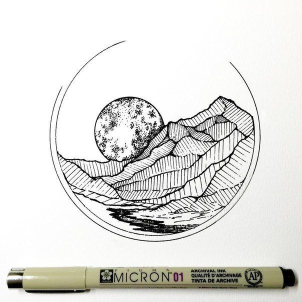 Line Drawing With Fineliner And Pencils : Best mountain drawing ideas on pinterest