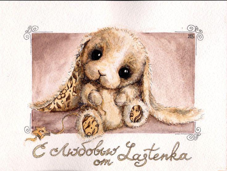 bears dolls toys watercolor postcards по мотивам работ Евгении Красновой