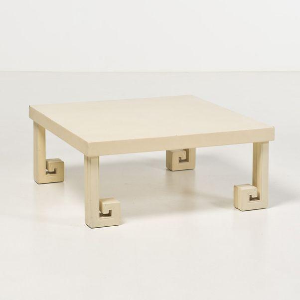 Piasa - James Mont (1904-1978) Table basse convertible Bois laqué et laiton Date de création : 1960