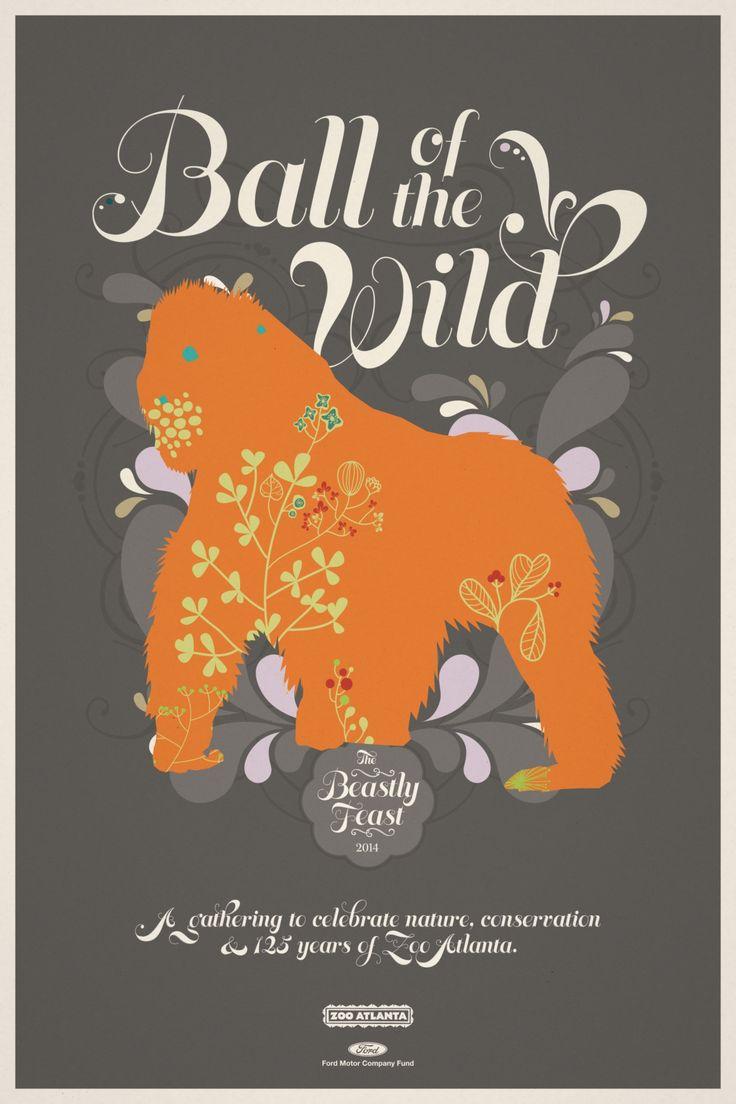 Zoo poster design - Zoo Atlanta Beastly Feast Gorilla