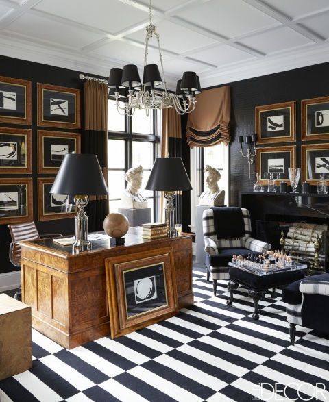 Megan Winters: Home Office. A Black And White Striped Flat Weave Rug Is  Balanced
