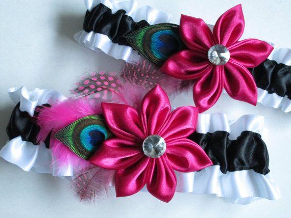 Pink Wedding Garters Black White Garters by GibsonGirlGarters @OneWed