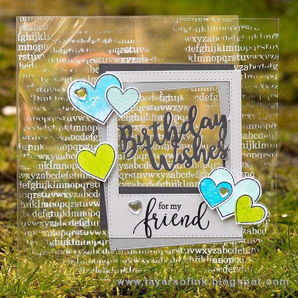 Layers of ink - Birthday Wishes Frame Clear Card Tutorial by Anna-Karin. Made with Simon Says Stamp Exclusive dies and stamps, for the My Favorite release blog hop.