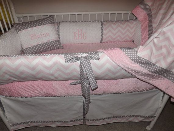 Baby Bedding Crib Set With Light Pink And Gray Chevron Deposit Down Payment Only Read Details Room Ideas Pinterest