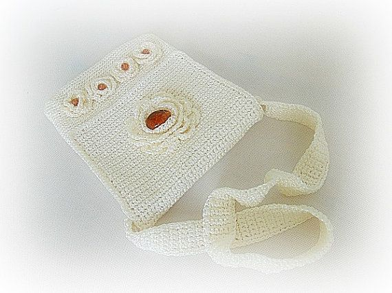 Crocheted handbag stone bag amber handbag crochet by styledonna