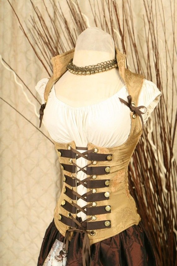 Corset under bust golden tan with brown buckles pirate style over shoulder buster steampunk